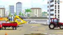Yellow JCB Excavator with The Crane - Diggers for children | Cars & Trucks Construction Cartoons