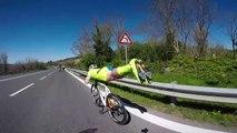 Ce cycliste fait le superman sur son vélo et double tout le monde