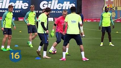 Durante treino, Messi dá caneta em Cillessen e acaba com rodinha de bobinho