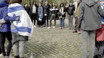 """Turkish Muslims and Israeli Jews at Auschwitz Birkenau singing """"I Believe"""" (Ani Ma'amin) together (From Poland trip with Jeff Seidel Student Center, May 7, 2017)"""