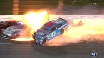 Patrick Logano Almirola Huge Crash 2017 Nascar Monster Energy Cup Kansas
