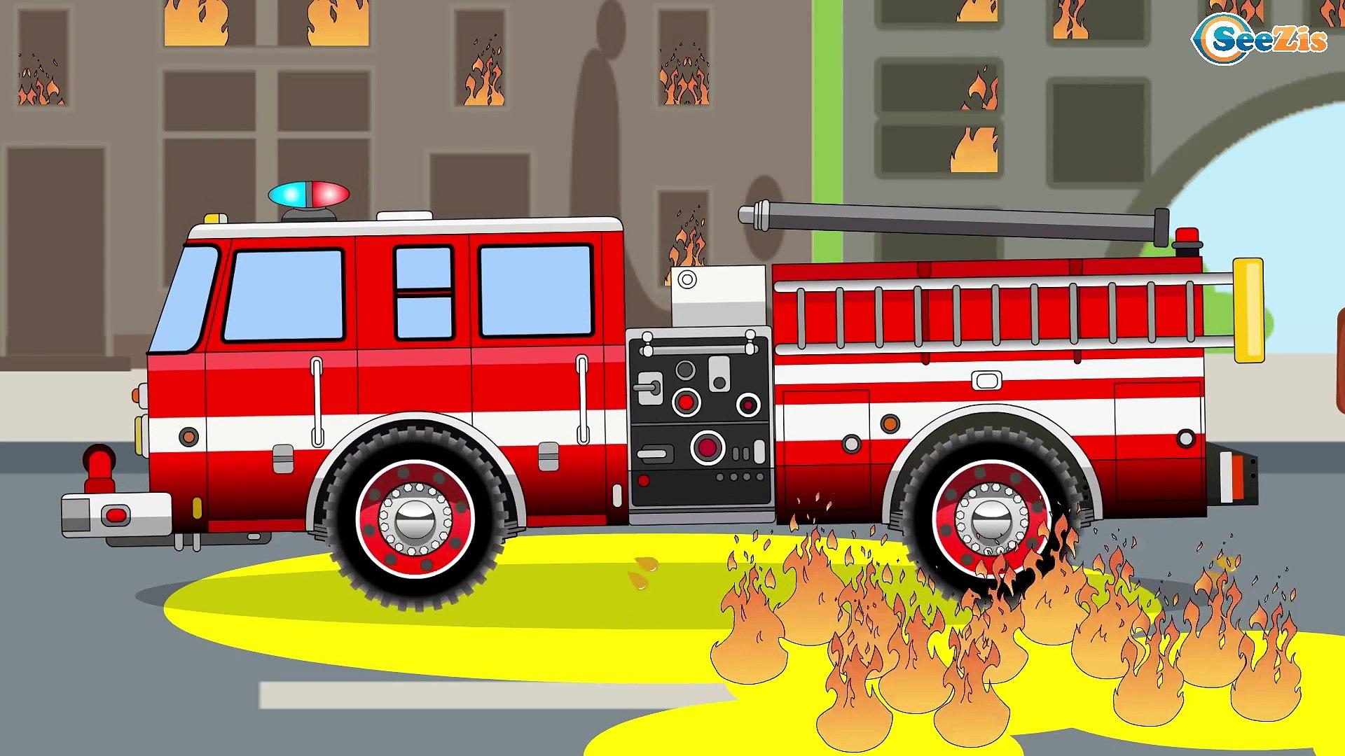 Le Camion De Pompier La Voiture De Course Et La Voiture De Police