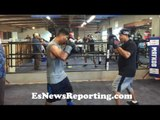 Robert Garcia Working Mitts With Mikey Garcia For His JULY 30 Return- EsNews Boxing
