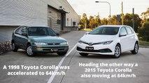 Un crash test entre une Toyota Corolla de 1998 et de 2015