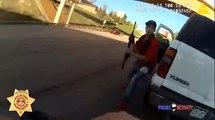 Un policier procède à un contrôle routier, le conducteur surgit armé d'un fusil d'assaut.