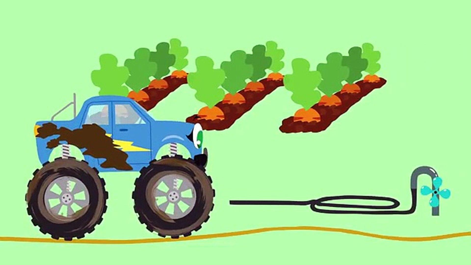 Монстр-трак Бибика на ферме - Овощи - Развивающие мультики про машинки для детей, малышей