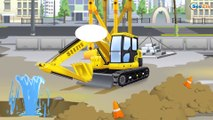 Yellow JCB Excavator with The Crane & Tractors - Real Diggers | Cars & Trucks Construction Cartoons