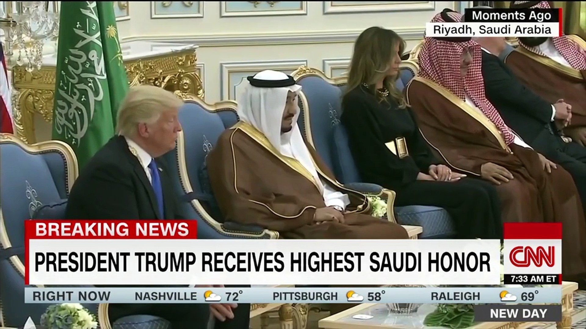 President Trump Honored With Gold Medal From | Saudi Arabian | King At Start Of First Foreign Trip