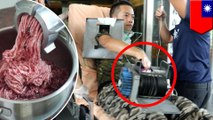 Meat grinder: Man's hand mangled by meat grinder after glove gets caught in machine