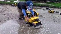 Toy Trucks for Kids - Tonka Construction Vehicles Digging in Mud - Dump Truck, Backhoe, Bulldozer-XqU