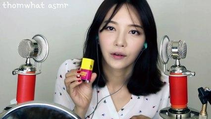Applying Lip gloss & lip stick (Binaural) 립제품 설명하며 발라볼게요