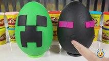 Giant Minecraft Creeper & Enderman Play Doh Surprise Eggs with Minecraft Hangers & Netherrack Toys-LTYakA8B