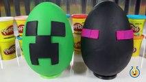 Giant Minecraft Creeper & Enderman Play Doh Surprise Eggs with Minecraft Hangers & Netherrack Toys-LTYak
