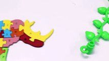 Learning Alphabet ABC with Rhino Toy Wooden Puzzle for Children-b2k