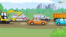 Yellow Excavator with Tractors & Trucks - Real Diggers JCB | Cars & Trucks Construction Cartoons
