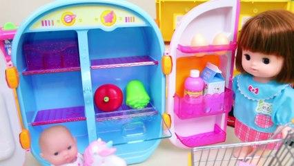 Refrigerator with washing machine toy Baby dolls toy play - Toyfamily 달님이 냉장고와 콩순이세탁기 아기인형 마트놀이 - 토이패밀리