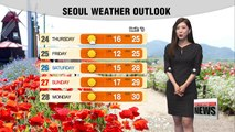Mostly sunny in the upper regions while light rain expected down south