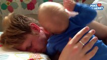 Funny Baby Tries to Wake Up Dad - Daily Heart Beat