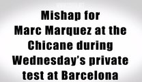 Marc Marquez mishap fall in Barcelona MotoGP test