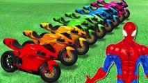 Comptines Bébé Dessin animé francais Motos colorées et Spiderman Mcqueen Cars| Colors for
