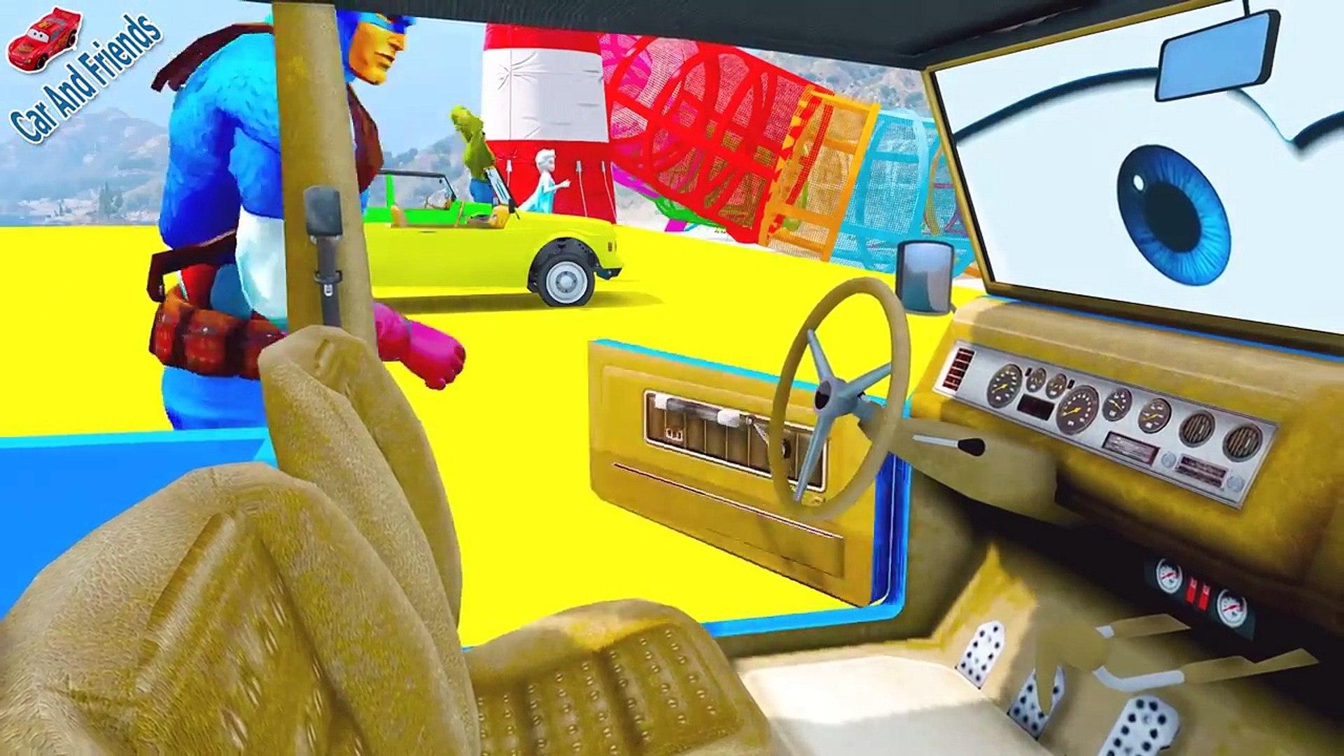 Arabalar çizgi film _ Renkler Öğrenin Çocuklar İçin Uzun Araba SUV Car W Örümcek Adam,Çizgi film izl