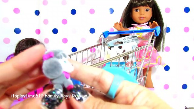 SURPISE TOYS IN WALMART SHOPPING CART with AG Doll