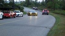 Camaro does BURNOUT past Audi R8, Ferrari, Porsche, Mercedes SLS and Lamborghini Murcielago LP640