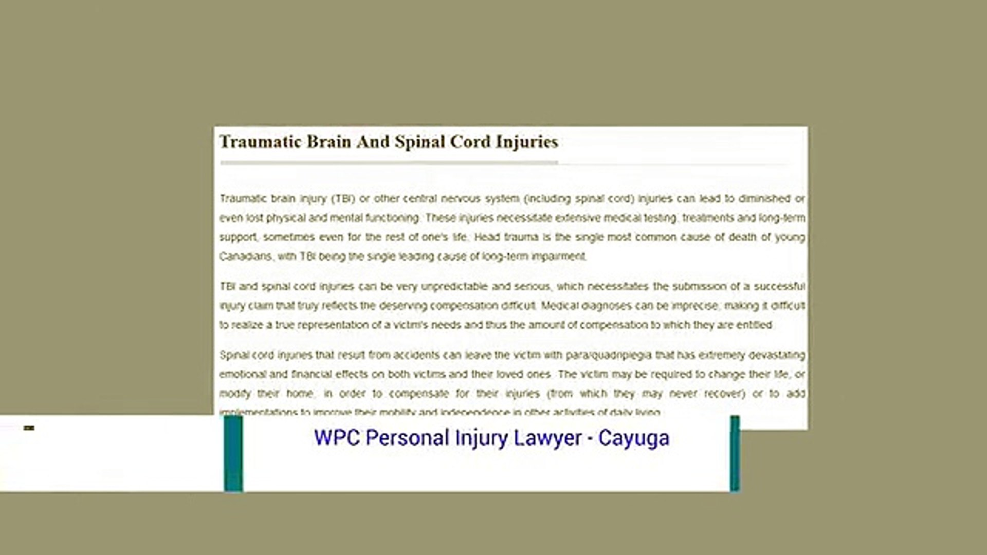 Personal Injury Lawyer Cayuga - WPC Personal Injury Lawyer (800) 964-1839