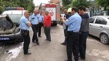 Park Halindeki Polis Aracı Yanarak Küle Döndü