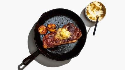 Steak With Lemon Butter and Jammy Lemon Halves