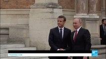 France: French President Emmanuel Macron meets with Russian President Vladimir Putin