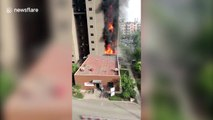 huge fire breaks out in residential building in northern China