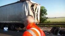 Un bus et un camion entre en collision sur l'A16: les images des dégâts