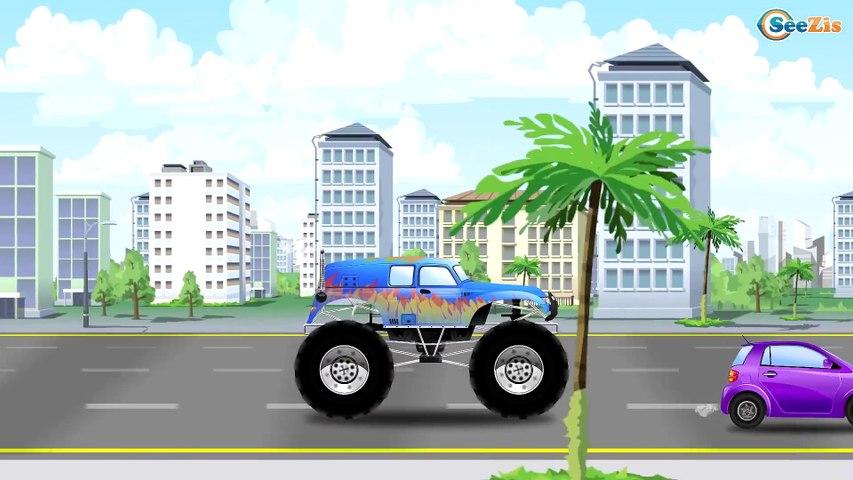 Monster Truck VS Real Truck - Cartoon Video For Kids