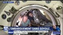 L'au revoir de Thomas Pesquet à l'ISS. L'astronaute français est entré dans la capsule Soyouz MS-03