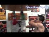 leo santa cruz punching bag and speed bag work getting ready for mares - EsNews