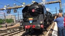 La locomotive à vapeur 241P17 entre en gare de Dijon
