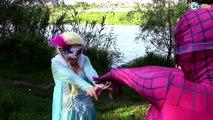 Spiderman Trap for Frozen Elsa w/ Pink Spidergirl baby Joker Superheroes in Real Life
