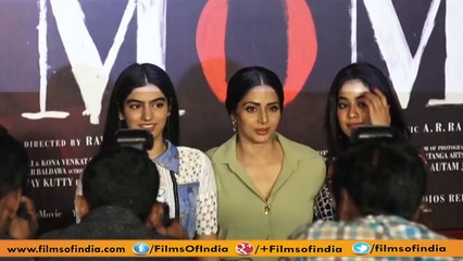 awazuddin Siddiqui   Sridevi Along With Daughters   Trailer Launch Of  'Mom'