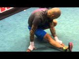 Boxing Star Miguel Cotto Streching Gets Ready For Full Workout - esnews boxing