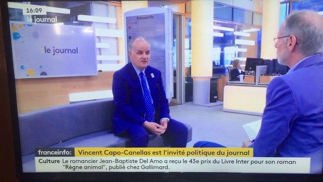 Vincent Capo-Canellas, Sénateur UDI-UC de la Seine-Saint-Denis, invité politique du journal de France Info TV