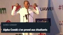 Alpha Condé, hué, s'en prend aux étudiants guinéens