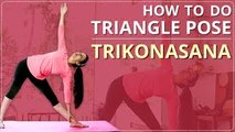 STEP BY STEP TRIANGLE POSE FOR BEGINNERS   Learn TRIKONASANA In 2 Minutes   Simple Yoga Lessons