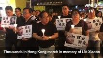 Hong Kong tối ngày 15/07/2017: Tuần hành tưởng niệm Lưu Hiểu Ba ( Liu Xiaobo 28/12/1955 - 13/07/2017 ) - Nhà hoạt động n
