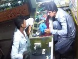CCTV footage of a robbery at a mobile shop in Quaidabad.