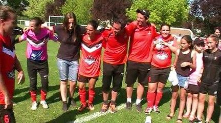 La joie des fille de Sud Lyonnais 2013 après leur victoire contre l'AS La Sanne en barrage interditrict