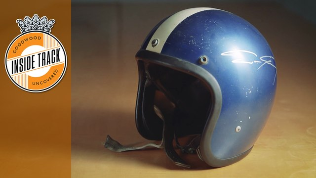 Dan Gurney's racing helmet is one of Lord March's prized possessions