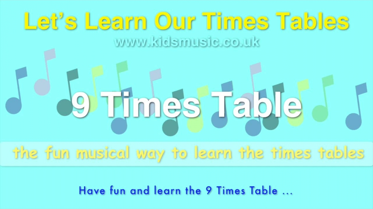 Kidzone – Let's Learn Our Times Tables – 9 Times Table