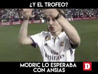 ¿Y el trofeo? Modric lo esperaba con ansias