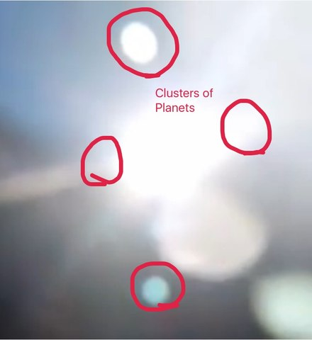 Clusters of NIBIRU Planets caugh around sun and above the sun   Godialy.com